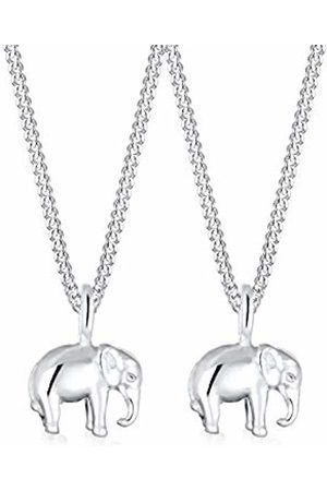 Elli Children's 925 Sterling Mother and Child Elephant Pendant with Necklace of Length 45 cm