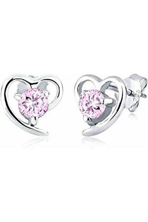 Elli Women's 925 Sterling Silver Xilion Cut Heart Zirconia Stud Earrings