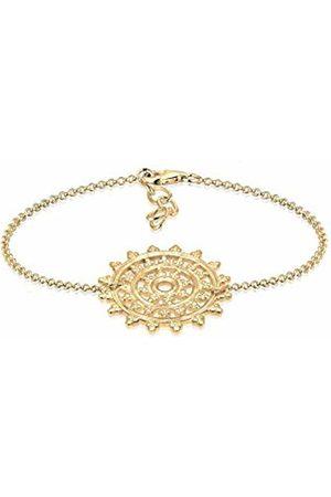 Elli Women Ornament Karma Sun Circle 925 Silver Plated Bracelet - 16cm length