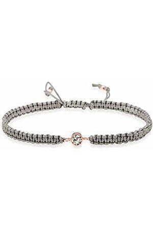 Elli Women Solitaire Node Knot Textile Swarovski Crystals 925 Sterling Silver Bracelet of Length 16cm 0205661217_16