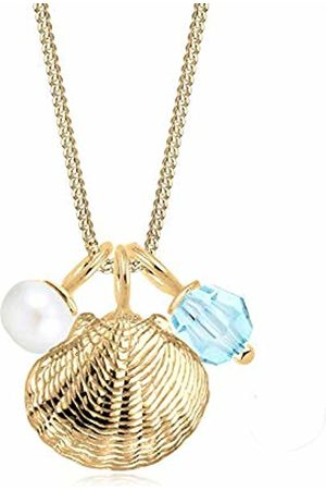 Elli Women Plated 925 Sterling Silver Shell Pearl Ball Crystal Necklace of Length 45cm