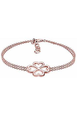 Elli Women's 925 Sterling Silver Rose Plated Clover Leaf Bracelet - 16cm length