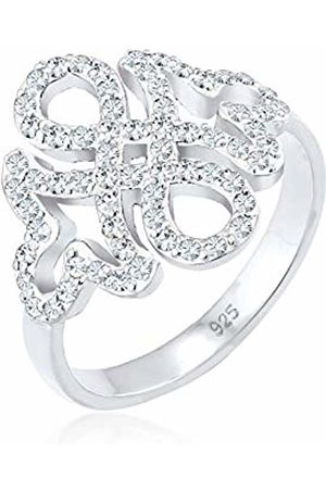 Elli Women's 925 Sterling Xilion Cut Swarovski Crystal Infinity Ornament Knots Ring
