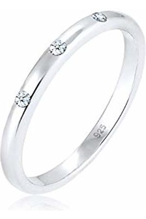 DIAMORE Women's 925 Sterling Diamond Ring of Size P