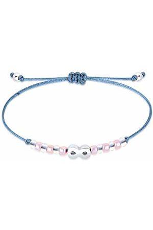 Elli Women's 925 Sterling Globes Infinity Nylon Textile Bracelet - 16cm length