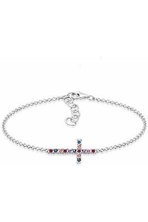 Elli Women's 925 Sterling Cross Religion Talisman 0.001 ct Swarovski Crystals Pendant Bracelet - 16cm length