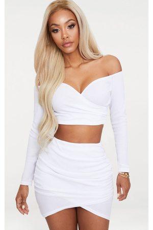 PRETTYLITTLETHING Shape Wrap Bardot Ribbed Crop Top
