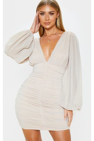 PRETTYLITTLETHING Stone Mesh Ruched Balloon Sleeve Bodycon Dress