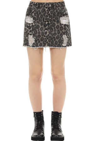 The People Vs Women Printed Skirts - Vixen Jaguar Print Cotton Denim Skirt