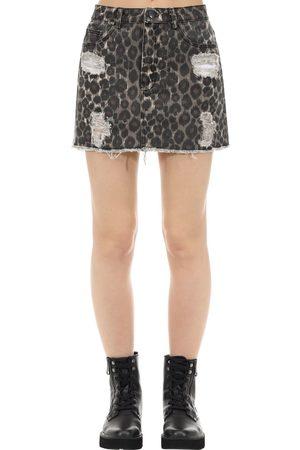 The People Vs Women Printed Skirts - Vixen Jaguar Print Cotton Denim Skirt