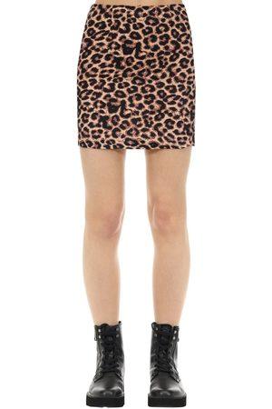 The People Vs Women Mini Skirts - Kate Hyaena Print Cotton Mini Skirt