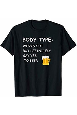 Funny workout t-shirt Funny Workout Apparel Body Type Loves Beer T-Shirt