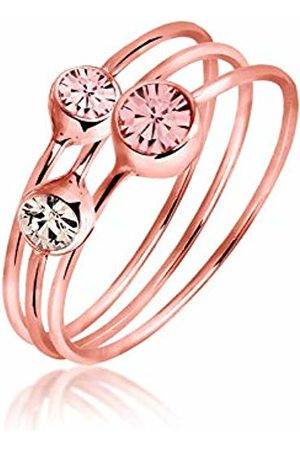 Elli Women's Stack Ring Basic Multi-Coloured Rose Gold-Plated 925 Sterling Brilliant Cut Pink J-K