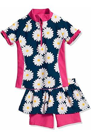 Playshoes Girl's UV Sun Protection 2 Piece Marguerite Swim Set, (Navy)