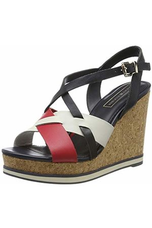 Tommy Hilfiger Women's Interwoven Pattern Wedge Sandal Platform 7 UK