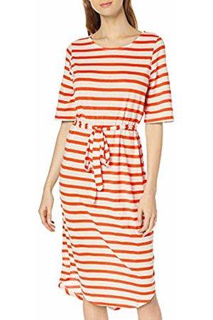 Selected Femme NOS Women's Sfivy 2/4 Beach Dress (Cherry Tomato Stripes: Snow )
