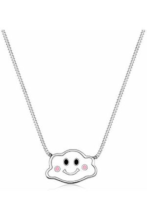 Elli Children's 925 Sterling Silver Girls Cloud Sky Dream Smile Modern Enamel Pendant with Necklace of Length 36 cm