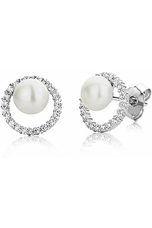 Miore Earrings Women studs Freshwater Pearl Zirconia 925 Sterling