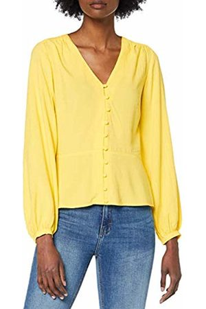 warehouse Women's V-Neck Textured Button Front Blouse, ( 82)