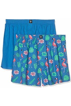 Bruno Banani Men's Boxershorts 2er Pack Cheerful Boxer Shorts, (Blau Flamingo Print//Blau 2638)
