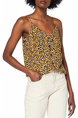 warehouse Women's Leopard Print Button Through Vest Top, (Tan 84)