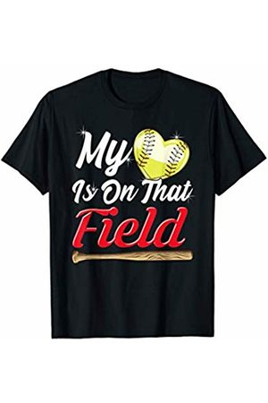Tropique Softball Gift Apparel My Heart is on That Field! Softball Mom Sports Gift T-Shirt