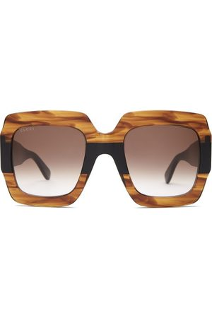 Gucci GG Square Marbled-acetate Sunglasses - Womens