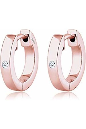 DIAMORE Women Creole Diamond 925 Silver Rose Gold Played Earrings 0302892217