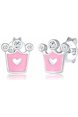 Elli Children's 925 Sterling Crown Heart Earrings
