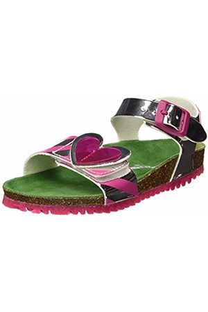 Agatha Ruiz de la Prada Girls' 192983 Open Toe Sandals (Plata Y Rayas (Espejo Y Estampado) Paprika) 8.5 UK