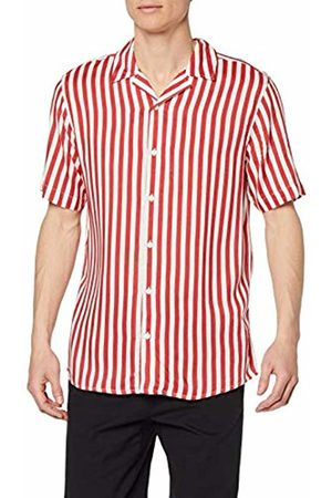 Only & Sons NOS Men's onsWAYNE SS Striped Viscose Shirt NOOS Casual, Rot Cranberry