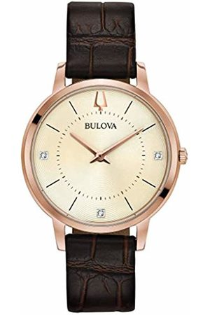 BULOVA Womens Analogue Classic Quartz Watch with Leather Strap 97P122