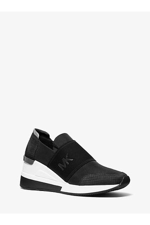 Michael Kors Felix Canvas And Snake-Embossed Nubuck Trainer
