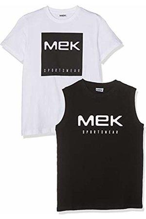 MEK Girl's 2 Pz Jersey T-Shirt+Canotta Logo Kniited Tank Top