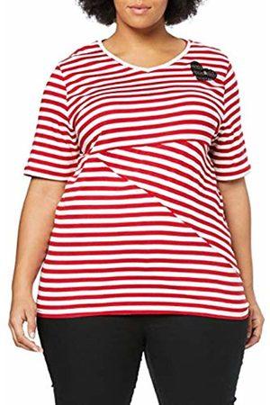 Ulla Popken Women's Plus Size Sequin Heart Accent Stripe Tee Crimson Stripe 20/22 720711 53-46+