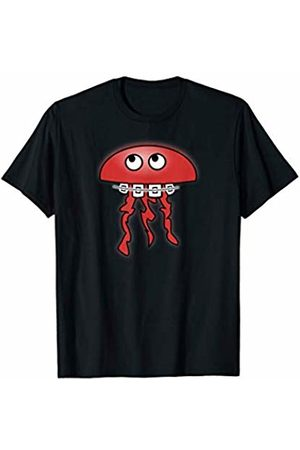 funny cute animal shirt Men Braces - T-Shirt jellyfish with dental braces in red