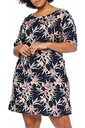 JUNAROSE Women's Jrarya 2/4 Sleeve Above Knee Dress Mh- K (Navy Blazer AOP: Leaf)