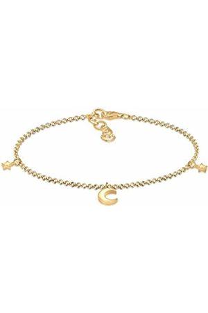 Elli Women Crescent Star Astro 925 Silver Plated Bracelet of Length 16cm