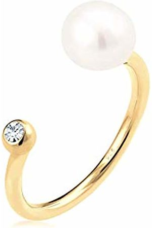 Elli Women Plated 925 Sterling Silver Pearl Crystal Adjustable Ring
