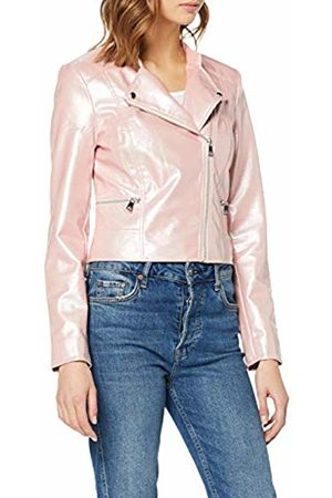 Only Women's Onlhannah Glazed Faux Leather Biker OTW Jacket, Rose Smoke