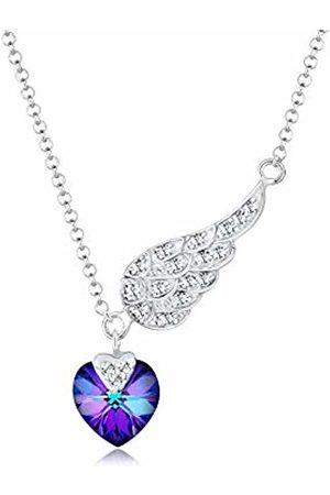 Elli Heart Wings Love Swarovski Crystals Sterling Necklace of Length 45cm