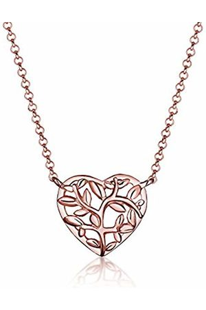 Elli Women Necklace 925 Sterling Silver Rose Plated Tree of Life Heart Length 45cm 0105381016