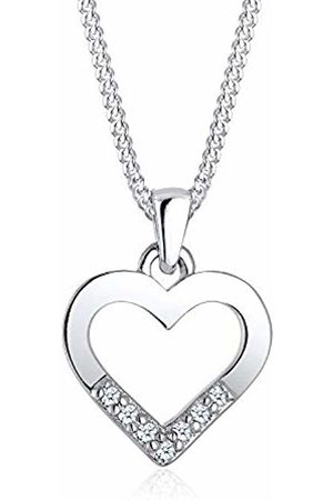 DIAMORE Women's 925 Sterling Heart Diamond 0.07ct Necklace Of Length 45cm