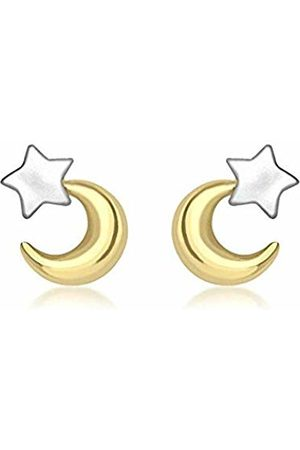Carissima Gold 9ct 2 Colour Gold Moon and Star Stud Earrings