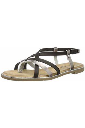 Mustang Women's 1308-804-989 Sling Back Sandals, (Schwarz/Bronze 989)