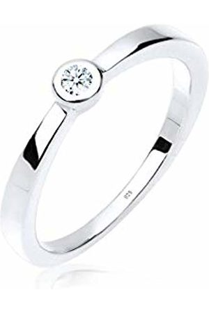 DIAMORE Women's 925 Sterling 0.03 ct White Diamond Solitaire Ring