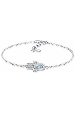Elli Women's 925 Sterling Hamsa Hand Zirconia Bracelet of Length 17 cm