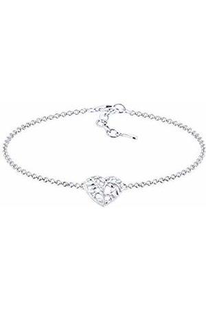 Elli Women's 925 Sterling Heart Love Friendship Love Proof Bracelet Anklet of Length 16 cm