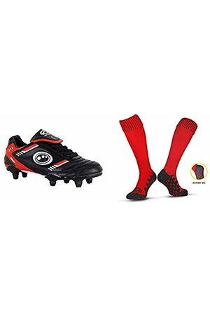 Optimum Boys' Tribal Lace Up 6 Stud Football BootsRed (Black/Red)13 Child UK 32 EU with Men's Classico Sports SocksRedJunior (3-6)