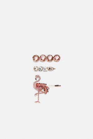 Zara Pack of flamingo rhinestone hair clips